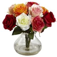 Nearly Natural 11-Inch Rose Artificial Arrangement with Glass Vase in Red Multicolor