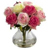 Nearly Natural 11-Inch Rose Artificial Arrangement with Glass Vase in Pink Multicolor