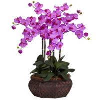 Nearly Natural 30-Inch Large Phalaenopsis Artificial Arrangement with Straw Planter in Orchid