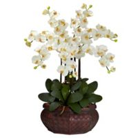 Nearly Natural 30-Inch Large Phalaenopsis Artificial Arrangement with Straw Planter in Cream