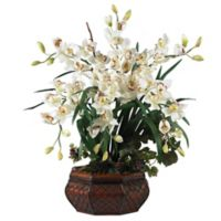 Nearly Natural 36-Inch Large Cymbidium Artificial Arrangement with Straw Planter in White
