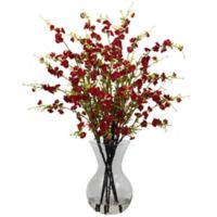Nearly Natural 30-Inch Cherry Blossoms Artificial Arrangment with Glass Vase in Red