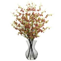 Nearly Natural 30-Inch Cherry Blossoms Artificial Arrangment with Glass Vase in Pink