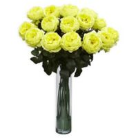 Nearly Natural Artificial Yellow Rose Arrangement in Vase