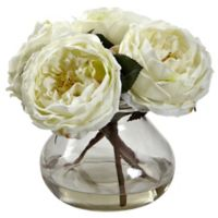 Nearly Natural 8-Inch Fancy Rose Artificial Arrangement with Glass Vase in White