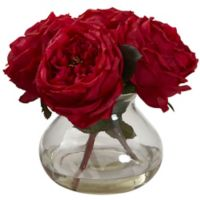 Nearly Natural 8-Inch Fancy Rose Artificial Arrangement with Glass Vase in Red