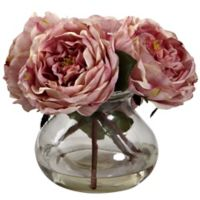 Nearly Natural 8-Inch Fancy Rose Artificial Arrangement with Glass Vase in Pink