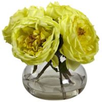 Nearly Natural 8-Inch Fancy Rose Artificial Arrangement with Glass Vase in Yellow