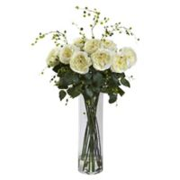 Nearly Natural 32-Inch Fancy Rose and Willow Artificial Arrangement with Glass Vase in White
