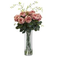 Nearly Natural 32-Inch Fancy Rose and Willow Artificial Arrangement with Glass Vase in Pink