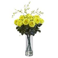 Nearly Natural 32-Inch Fancy Rose and Willow Artificial Arrangement with Glass Vase in Yellow