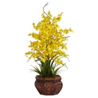 Nearly Natural 30-Inch Dancing Lady Orchid Artificial Arrangement with Straw Vase in Yellow