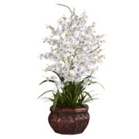 Nearly Natural 30-Inch Dancing Lady Orchid Artificial Arrangement with Straw Vase in White