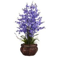 Nearly Natural 30-Inch Dancing Lady Orchid Artificial Arrangement with Straw Vase in Purple