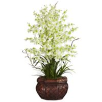 Nearly Natural 30-Inch Dancing Lady Orchid Artificial Arrangement with Straw Vase in Green