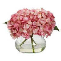 Nearly Natural Artificial Blooming Pink Hydrangea Arrangement in Vase