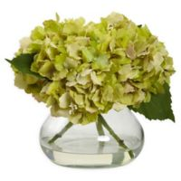 Nearly Natural Artificial Blooming Green Hydrangea Arrangement in Vase