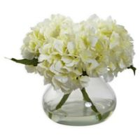 Nearly Natural Artificial Blooming Cream Hydrangea Arrangement in Vase
