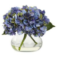 Nearly Natural Artificial Blooming Blue Hydrangea Arrangement in Vase
