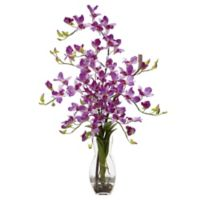 Nearly Natural 29-Inch Dendrobium Orchid Artificial Arrangement with Glass Vase in Purple