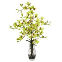 Nearly Natural 29-Inch Dendrobium Orchid Artificial Arrangement with Glass Vase in Green