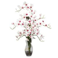 Nearly Natural 29-Inch Dendrobium Orchid Artificial Arrangement with Glass Vase in Cream