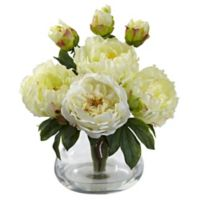 Nearly Natural 14.5-Inch Peony and Rose Artificial Arrangement with Glass Vase in White