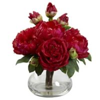 Nearly Natural 14.5-Inch Peony and Rose Artificial Arrangement with Glass Vase in Red