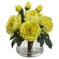 Nearly Natural 14.5-Inch Peony and Rose Artificial Arrangement with Glass Vase in Yellow