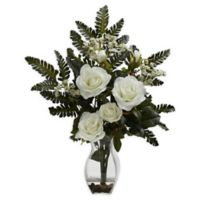 Nearly Natural Artificial White Rose & Chryistam Arrangement in Vase