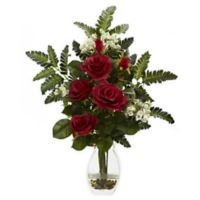 Nearly Natural Artificial Red Rose & Chryistam Arrangement in Vase
