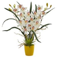 Nearly Natural 23-Inch Cymbidium Orchid Artificial Arrangement with Ceramic Vase in White