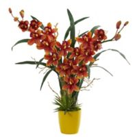 Nearly Natural 23-Inch Cymbidium Orchid Artificial Arrangement with Ceramic Vase in Yellow