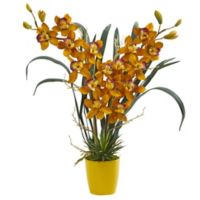 Nearly Natural 23-Inch Cymbidium Orchid Artificial Arrangement with Ceramic Vase in Burgundy