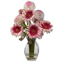 Nearly Natural 15-Inch Gerber Daisy and Ranunculus Artificial Arrangement with Glass Vase