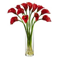 Nearly Natural 20-Inch Mini Calla Lily Artificial Arrangement with Glass Vase in Red
