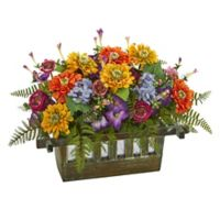Nearly Natural Artificial Mixed Floral Arrangement in Wooden Planter