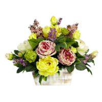 Nearly Natural Artificial Mixed Floral Arrangement in Planter
