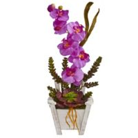 Nearly Natural 20-Inch Orchid and Succulent Artificial Arrangement with Chair Planter in Orchid
