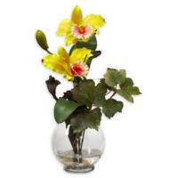 Nearly Natural Artificial Yellow Cattleya Arrangement in Vase