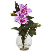 Nearly Natural Artificial Lavender Cattleya Arrangement in Vase