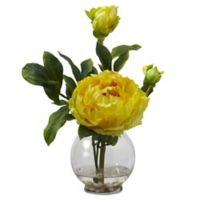 Nearly Natural 13.5-Inch Peony Artificial Arrangement with Glass Vase in Yellow