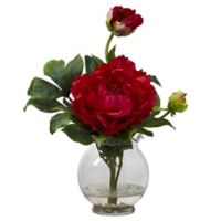 Nearly Natural 13.5-Inch Peony Artificial Arrangement with Glass Vase in Red