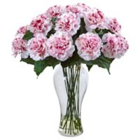 Nearly Natural 18-Inch Blooming Carnation Artificial Arrangement with Glass Vase in White/Mauve