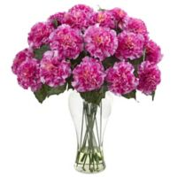 Nearly Natural 18-Inch Blooming Carnation Artificial Arrangement with Glass Vase in Dark Pink