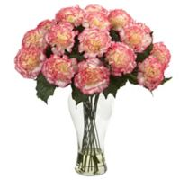 Nearly Natural 18-Inch Blooming Carnation Artificial Arrangement with Glass Vase in Cream/Pink