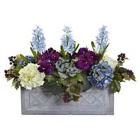 Nearly Natural Artificial Hyacinth & Hydrangea Arrangement in Planter