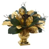 Nearly Natural 18-Inch Golden Magnolia Leaf in Gold Planter