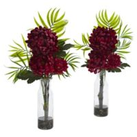 Nearly Natural™ 18-Inch Burgundy Tropical Mums in Glass Bottle (Set of 2)