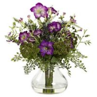 Nearly Natural Mixed Morning Glory Floral Arrangement with Vase